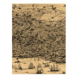 Vintage Pictorial Map of San Francisco (1875) Postcard