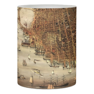 Vintage Pictorial Map of San Francisco (1878) Flameless Candle