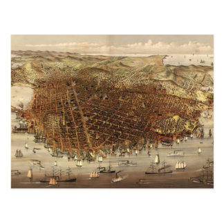 Vintage Pictorial Map of San Francisco (1878) Post Card