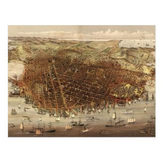 Vintage Pictorial Map of San Francisco (1878) Postcard