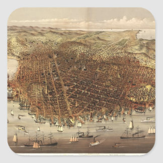 Vintage Pictorial Map of San Francisco (1878) Square Sticker
