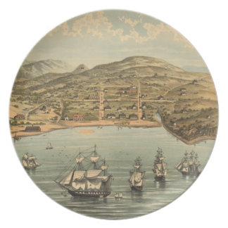 Vintage Pictorial Map of San Francisco (1884) Dinner Plate