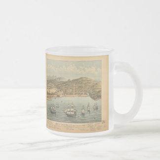 Vintage Pictorial Map of San Francisco (1884) Frosted Glass Coffee Mug
