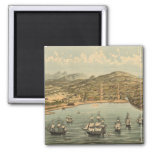 Vintage Pictorial Map of San Francisco (1884) Refrigerator Magnets