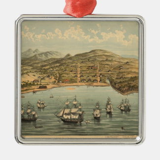 Vintage Pictorial Map of San Francisco (1884) Christmas Ornaments
