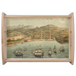 Vintage Pictorial Map of San Francisco (1884) Food Trays