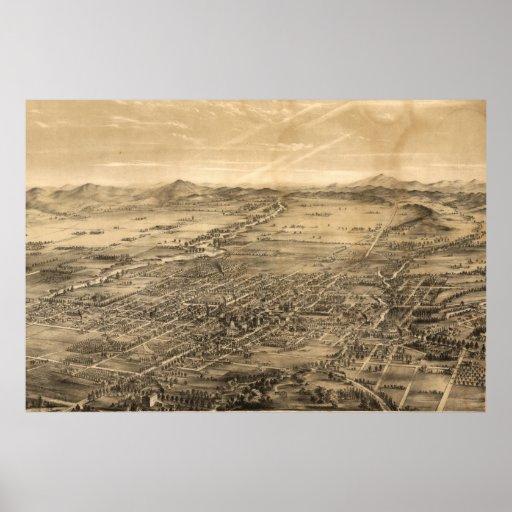 Vintage Pictorial Map of San Jose CA (1869) Poster