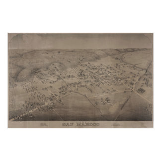 Vintage Pictorial Map of San Marcos Texas (1881) Poster