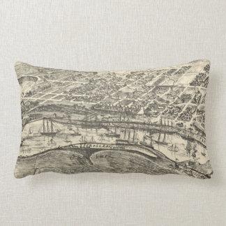 Vintage Pictorial Map of San Pedro (1902) Lumbar Pillow