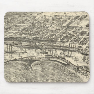 Vintage Pictorial Map of San Pedro 1902 Mouse Pads