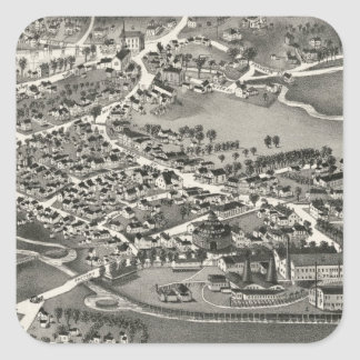 Vintage Pictorial Map of Sandwich MA (1884) Square Sticker