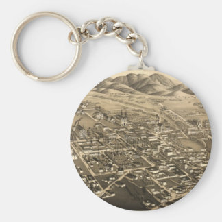 Vintage Pictorial Map of Santa Fe (1882) Keychain
