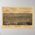 Vintage Pictorial Map of Santa Rosa CA (1876) Poster