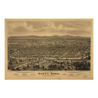 Vintage Pictorial Map of Santa Rosa CA (1876) Poster
