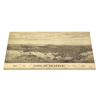 Vintage Pictorial Map of Seattle (1878) Canvas Print