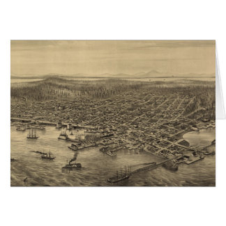 Vintage Pictorial Map of Seattle (1878) Card