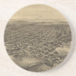 Vintage Pictorial Map of Seattle (1878) Drink Coasters