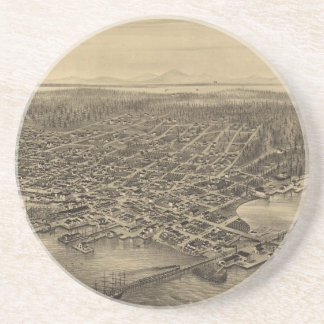 Vintage Pictorial Map of Seattle (1878) Drink Coaster