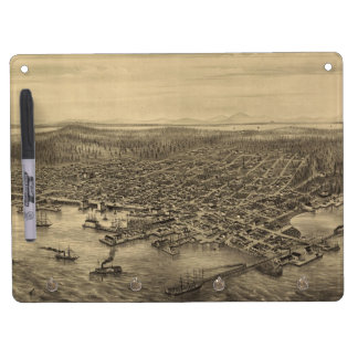 Vintage Pictorial Map of Seattle (1878) Dry-Erase Whiteboard