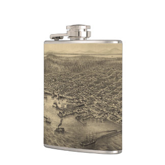 Vintage Pictorial Map of Seattle (1878) Hip Flask