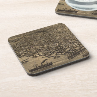Vintage Pictorial Map of Seattle (1884) Coasters