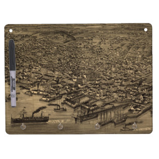 Vintage Pictorial Map of Seattle (1884) Dry-Erase Board