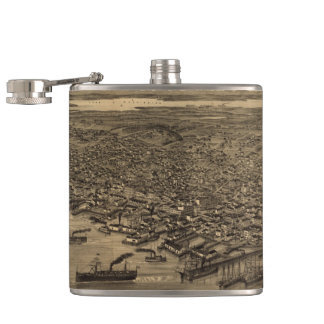 Vintage Pictorial Map of Seattle (1884) Flask