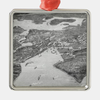 Vintage Pictorial Map of Seattle (1908) Metal Ornament