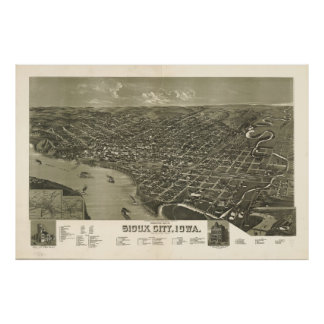 Vintage Pictorial Map of Sioux City Iowa (1888) Poster