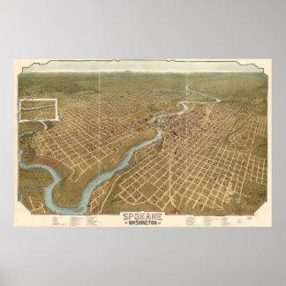 Vintage Pictorial Map of Spokane Washington (1905) Poster
