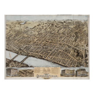 Vintage Pictorial Map of Springfield MA (1875) Poster