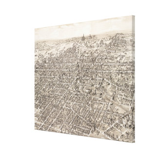 Vintage Pictorial Map of Springfield Ohio (1884) Canvas Print