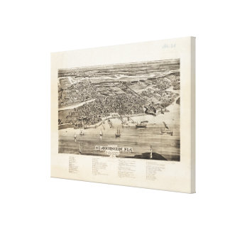 Vintage Pictorial Map of St. Augustine FL (1885) Canvas Print