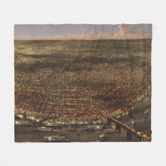 Vintage Pictorial Map of St. Louis (1874) Fleece Blanket
