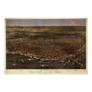 Vintage Pictorial Map of St. Louis (1874) Poster