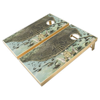 Vintage Pictorial Map of St. Louis (1896) Cornhole Set