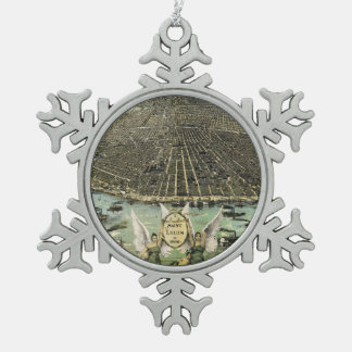 Vintage Pictorial Map of St. Louis (1896) Snowflake Pewter Christmas Ornament