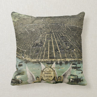 Vintage Pictorial Map of St. Louis (1896) Throw Pillows