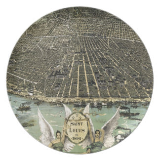 Vintage Pictorial Map of St. Louis (1896) Plate