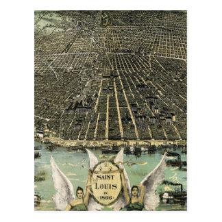 Vintage Pictorial Map of St. Louis (1896) Postcard