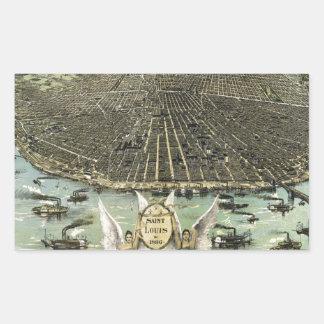 Vintage Pictorial Map of St. Louis (1896) Rectangular Sticker