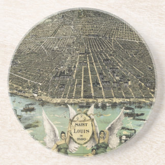 Vintage Pictorial Map of St. Louis (1896) Sandstone Coaster