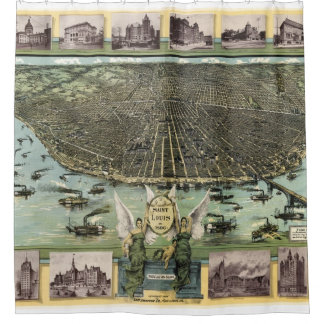 Vintage Pictorial Map of St. Louis (1896) Shower Curtain