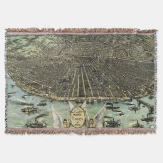 Vintage Pictorial Map of St. Louis (1896) Throw