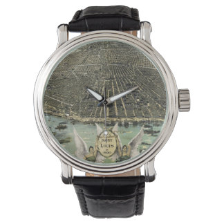 Vintage Pictorial Map of St. Louis (1896) Wristwatches