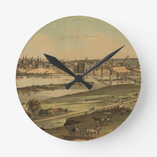 Vintage Pictorial Map of St. Paul Minnesota (1874) Round Clock