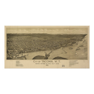 Vintage Pictorial Map of Tacoma Washington (1885) Poster