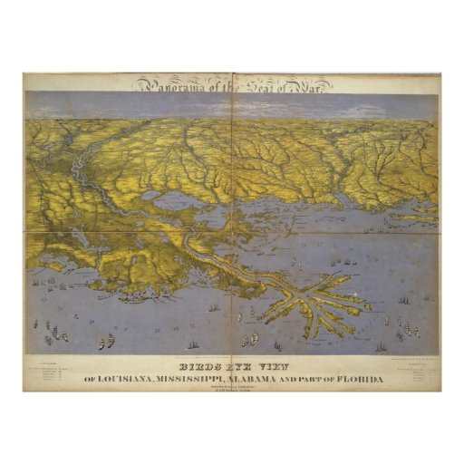Vintage Pictorial Map of The Gulf (1861) Poster