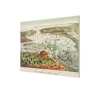 Vintage Pictorial Map of The Port of New York Canvas Print
