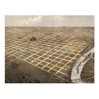 Vintage Pictorial Map of Topeka Kansas (1869) Postcard